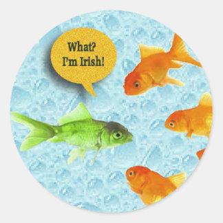 St. Patrick's Day, Goldfish Humor Classic Round Sticker