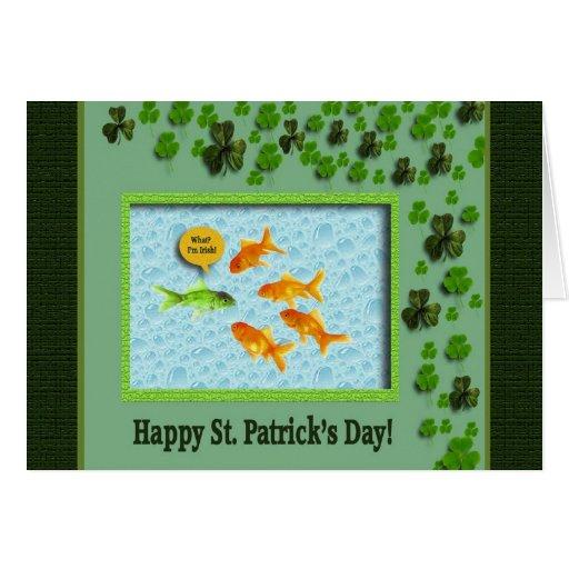 St. Patrick's Day, Goldfish Humor Greeting Card