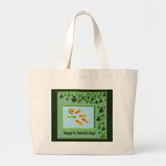 St. Patrick's Day, Goldfish Humor Large Tote Bag