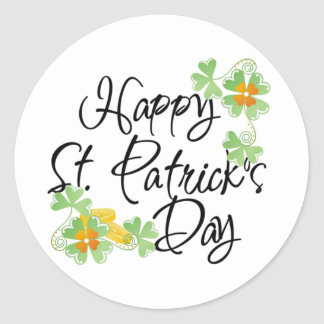 St Patricks Day Green and Orange Classic Round Sticker