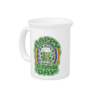 St Patricks Day Green Beer Beverage Pitcher