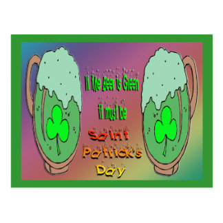 St Patrick's Day Green Beer Postcard