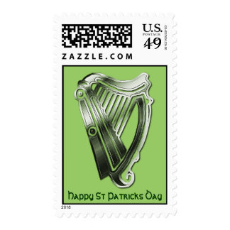 St Patrick's Day Green Chrome Harp of Ireland Postage Stamps