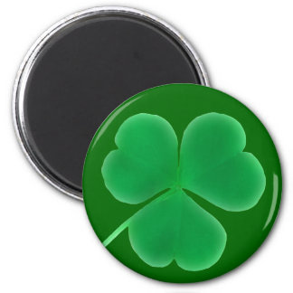 St. Patrick's Day Green Clover 2 Inch Round Magnet