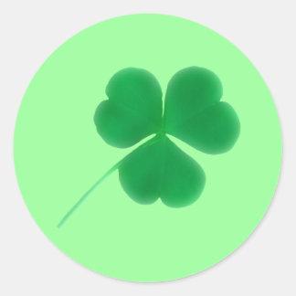 St. Patrick's Day Green Clover Classic Round Sticker