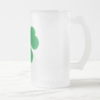 St. Patrick's Day Green Clover Frosted Glass Beer Mug