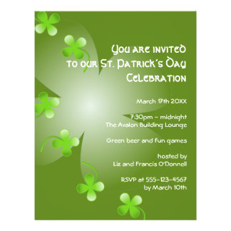 St Patrick's Day green clover party event large Flyer