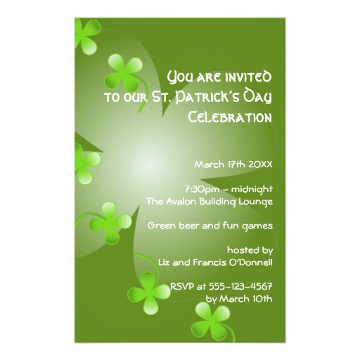St Patrick's Day green clover party event small Flyers