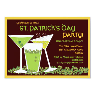 St. Patrick's Day Green Cocktails & Beer 5x7 Paper Invitation Card