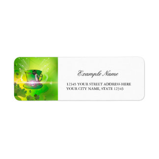 St. Patrick's Day, green hat and gecko Return Address Label