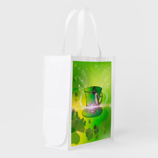 St. Patrick's Day, green hat and gecko Market Totes