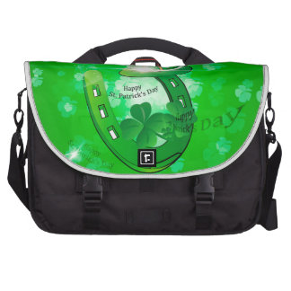 St. Patrick's Day, green hat with horseshoe Laptop Computer Bag