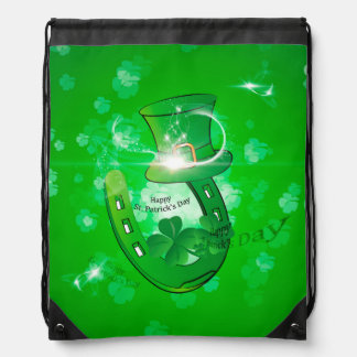 St. Patrick's Day, green hat with horseshoe Drawstring Backpack