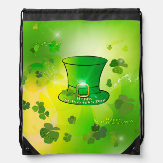 St. Patrick's Day, green hat with horseshoe Drawstring Bags