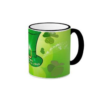 St. Patrick's Day, green hat with horseshoe Ringer Coffee Mug