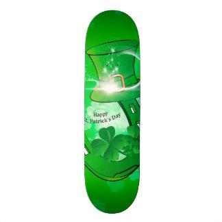 St. Patrick's Day, green hat with horseshoe Skateboard Decks