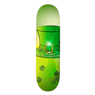 St. Patrick's Day, green hat with horseshoe Skateboard Deck
