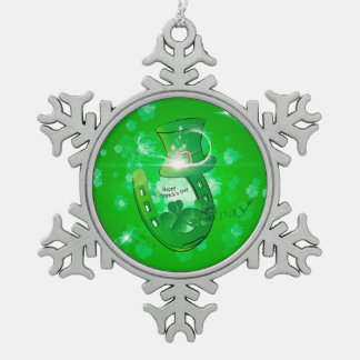 St. Patrick's Day, green hat with horseshoe Snowflake Pewter Christmas Ornament