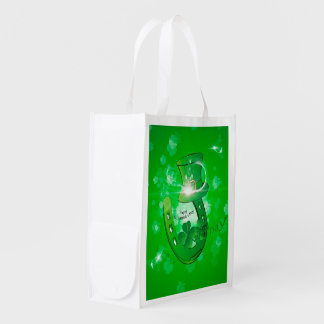St. Patrick's Day, green hat with horseshoe Reusable Grocery Bag