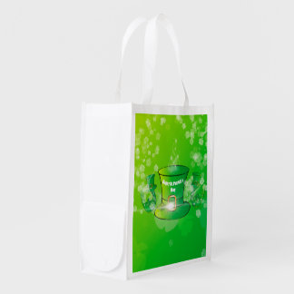 St. Patrick's Day, green hat Reusable Grocery Bags