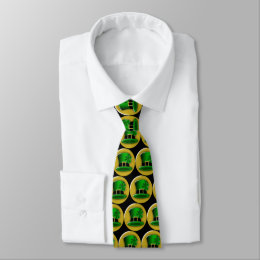 St Patrick's Day Green Leprechaun Hat Neck Tie