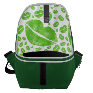St Patrick's Day Green Lips Random Collage Messenger Bag