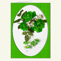 St Patrick's Day Green Rose Bouquet Card