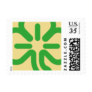 St Patricks Day Green Shamrock Faux Gold Clover Postage