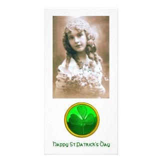 ST PATRICK'S DAY GREEN SHAMROCK GEMSTONE JEWEL CARD