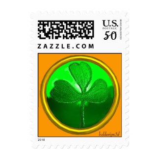 ST PATRICK'S DAY GREEN SHAMROCK GEMSTONE JEWEL POSTAGE