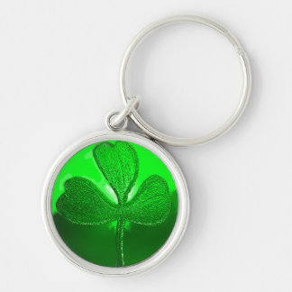 ST PATRICK'S DAY GREEN SHAMROCK GEMSTONE JEWEL Silver-Colored ROUND KEYCHAIN