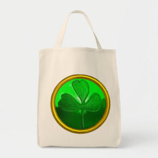 ST PATRICK'S DAY GREEN SHAMROCK GEMSTONE JEWEL TOTE BAG