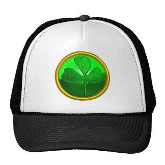 ST PATRICK'S DAY GREEN SHAMROCK GEMSTONE JEWEL TRUCKER HAT