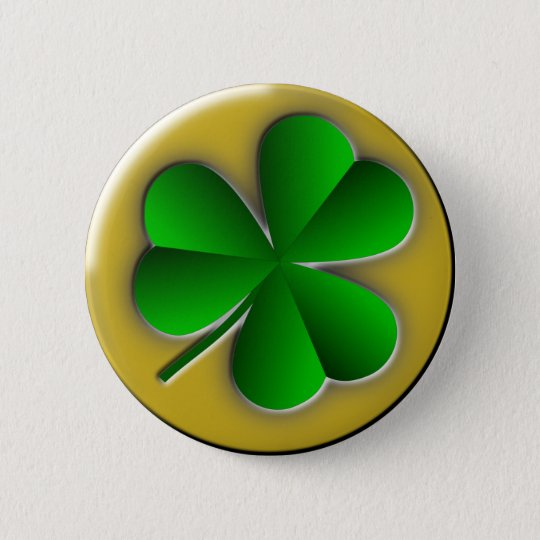 St Patrick's Day Green Shamrock Gold Background Button