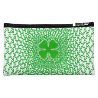 St Patrick's Day Green Shamrock on Mesh Background Cosmetic Bags