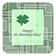 St. Patrick's Day Green Shamrock Square Sticker