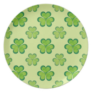 St. Patrick's Day Green Shamrocks Lucky Clovers Party Plate
