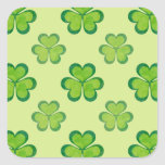 St. Patrick's Day Green Shamrocks Lucky Clovers Square Stickers