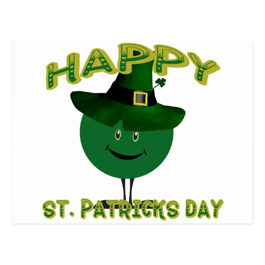 St. Patricks Day Green Smiley Postcard
