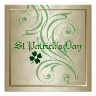 St Patrick's Day Green Swirl Party Invitations