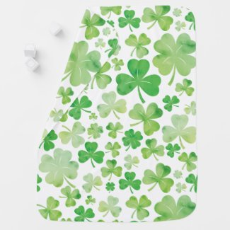 St Patricks Day Green Watercolour Shamrock Pattern Baby Blanket