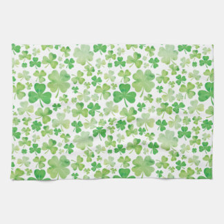 St Patricks Day Green Watercolour Shamrock Pattern Hand Towel