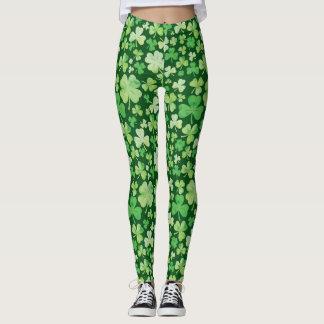 St Patricks Day Green Watercolour Shamrock Pattern Leggings