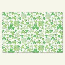 St Patricks Day Green Watercolour Shamrock Pattern Tissue Paper
