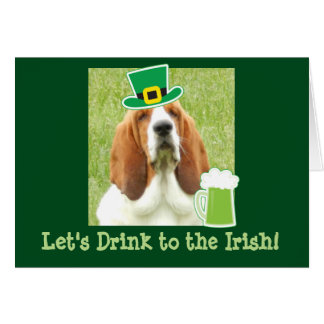 St. Patrick's Day greeting card with Basset Hound