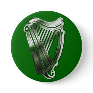 St Patrick's Day Harp of Ireland Button Name Tag button