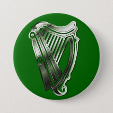 St Patrick's Day Harp Of Ireland Button Name Tag at Zazzle