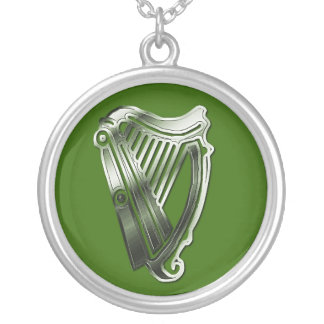 St Patrick's Day Harp of Ireland Silver Necklace