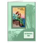 St Patrick's day, Harpist by the sea Card