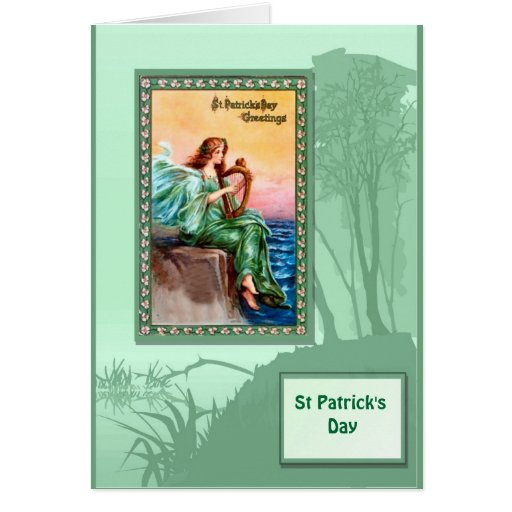 St Patrick's day, Harpist by the sea Greeting Cards